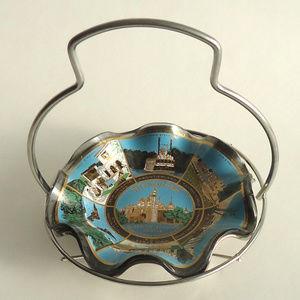 MCM Silver Glass & Disneyland Vintage Ruffled Dish